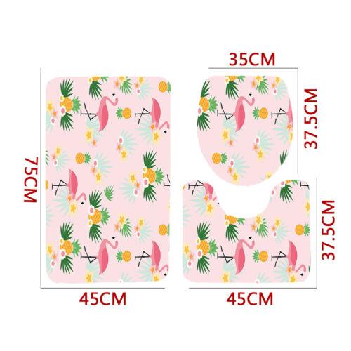 WC Flamant rose motif Abattant de WC Housse Coussin de Baignoire Piédestal Tapis Ensemble 3 pièces nouveau