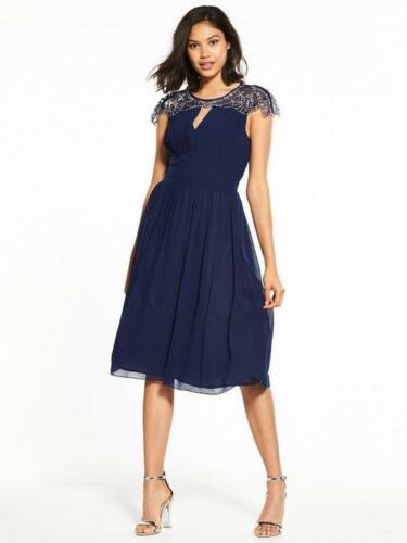 LITTLE MISTRESS WOMENS LONG CAP SLEEVE EMBELLISHED NAVY SIZE 10 MAXI DRESS £85