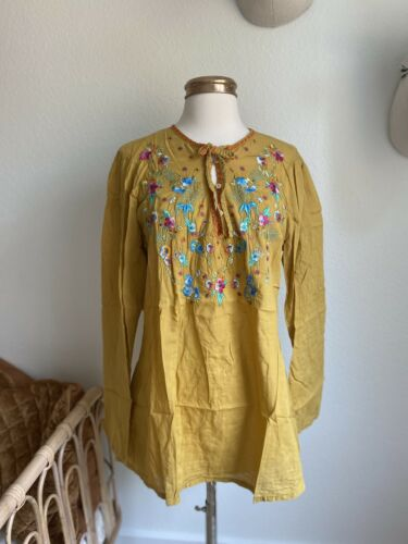 Johnny Was Mustard Yellow Floral Embroidered Tunic