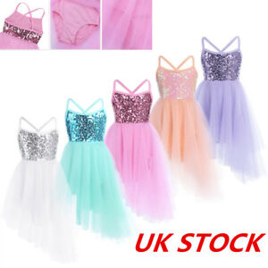 UK-Girls-Sequins-Ballet-Dress-Gymnastic-Dance-Leotard-Fairy-Dancewear-Costumes