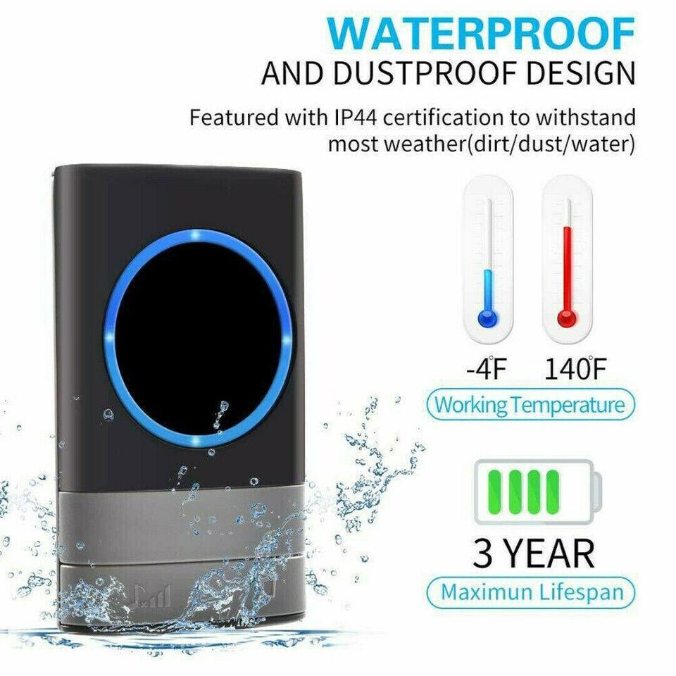 WIRELESS SMART DOORBELL HOME WATERPROOF WALL PL...