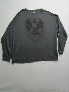 JF J. Ferrar Mens 3XLT Tall Gray Thermal Long Sleeve Shirt Graphic Logo Casual