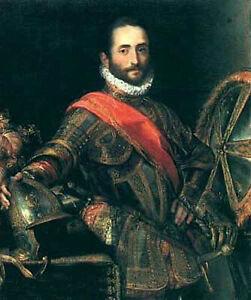 Handpainted Oil painting male portrait Francesco della Rovere in Armor standing