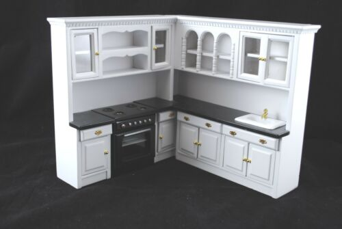 Kitchen Set  White T5296 dollhouse miniature 4pc  1//12 scale painted wood