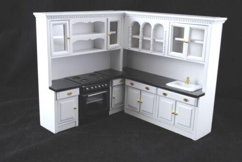 Kitchen Set  White T5296 dollhouse miniature 4pc  1//12 scale painted wood