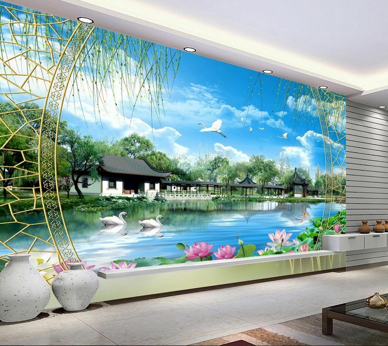 3D Mega Lotus Lakeside Cottage220 Wall Paper Wall Print Decal Wall AJ Wall Paper