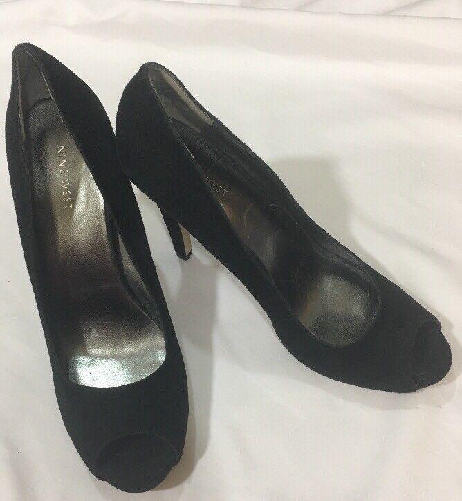Womens Nine West Black Size Velvet Peep Toe Stilletto Heels Size Black 9.5 00a94f