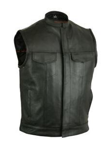Motorcycle-Vests-Milled-Cowhide-Scoop-Collar-amp-Hidden-Zipper-Rider-Vest-DS189A