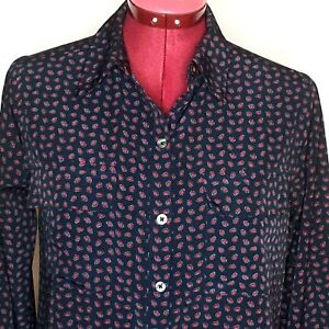 Abercrombie-amp-Fitch-Womens-Top-S-Blue-Red-Paisley-Button-Up-Long-Sleeve-Blouse