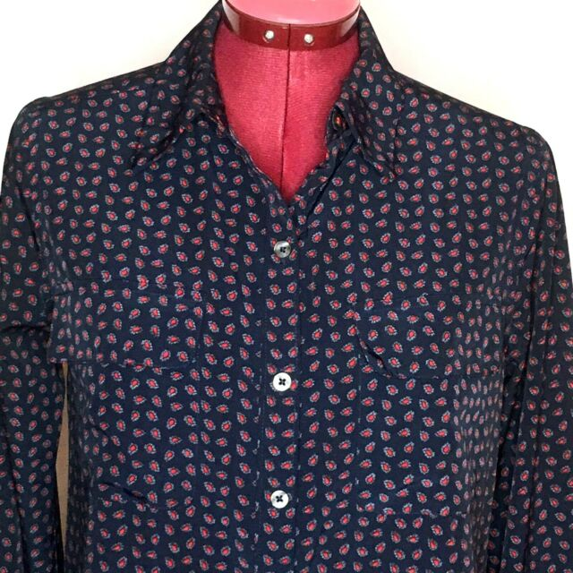 Abercrombie & Fitch Womens Top S Blue Red Paisley Button Up Long Sleeve Blouse
