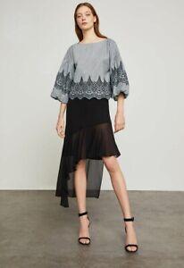 New-Women-s-Bcbg-Max-Aria-Asymmetrical-Ruffle-Trimmed-Skirt-SZ-XS-Black