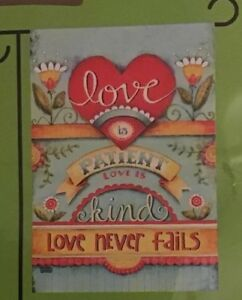 Porch Flag Love Is Patient Kind Small 12.5 x 18 Yard Marriage Valentine Art