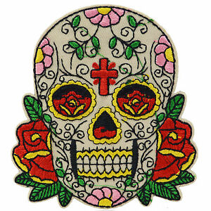 sugar skull iron on patch sew retro mexico day dead tattoo