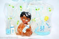 Boy Baby Shower Birthday Candle Cake Topper Blue Party Supply Ethnic Boy 3.5x2.5