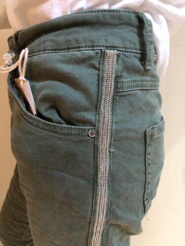 Melly/&Co khaki oliv Five-Pocket-Style Jeans Hose Nieten Streifen wow XS S M L XL