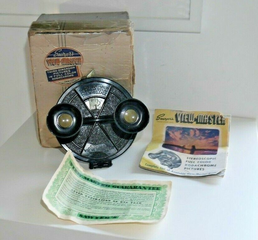 årgång SAWYER S VIEWMASTER VIEWER RARE Tidigare modellL A BOXED 1938-44 E015
