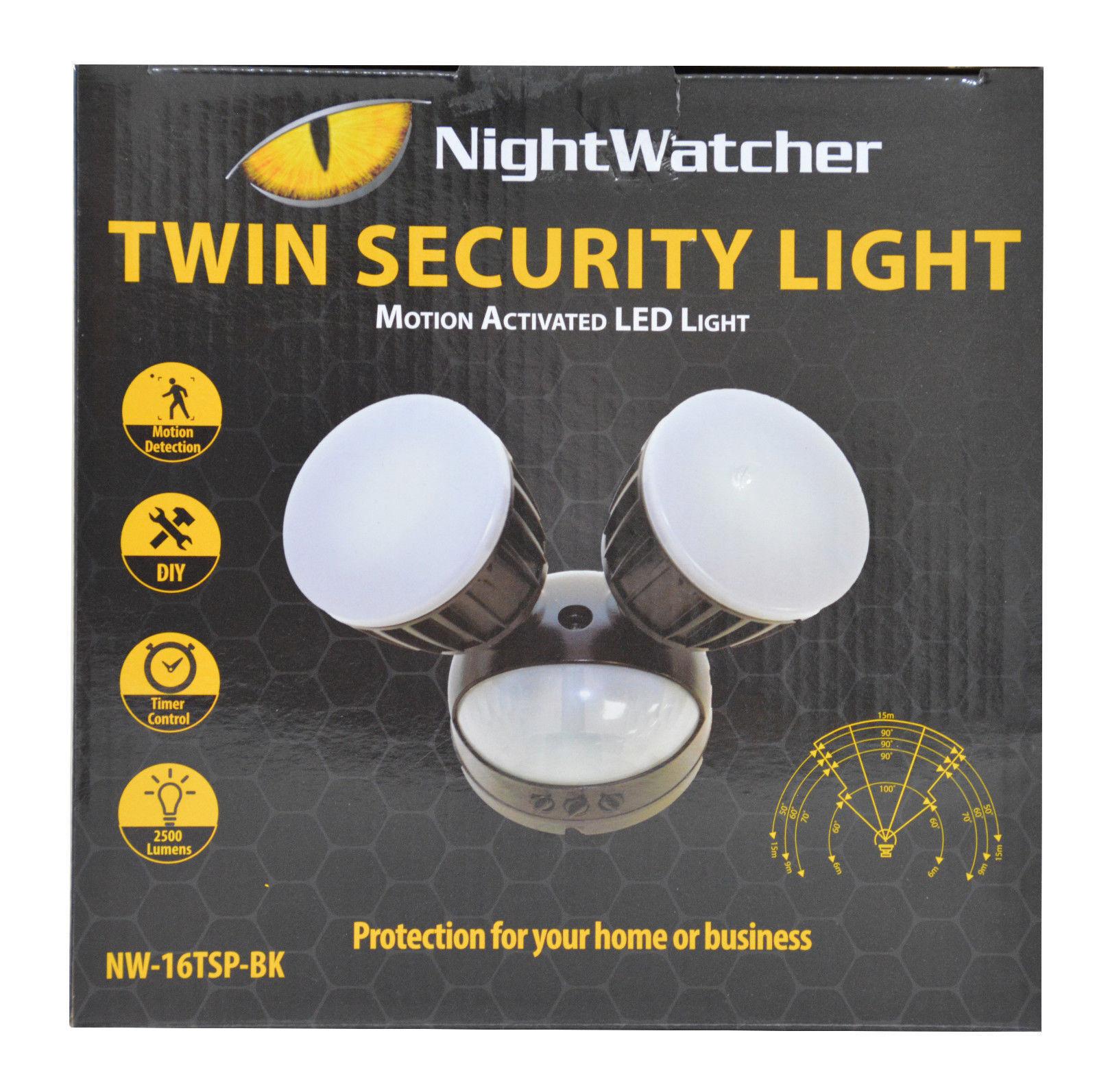 vendita online sconto prezzo basso NightWatcher NightWatcher NightWatcher TWIN sicurezza Motion attivato sensore PIR LED Luce 36W NW-16TSP-BK Nero  design semplice e generoso