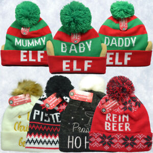 Christmas Kids Knitted Bobble Beanie Winter Hat Faux-fur pompom Xmas UK