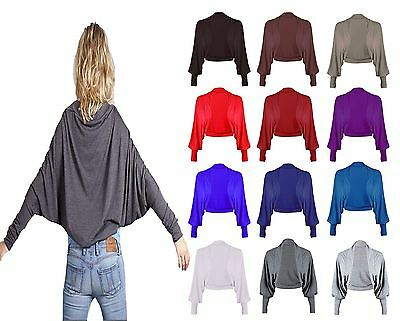 New Womens Batwing Shrug Long Sleeve Womens Jersey Bolero Cardigan Top Size 8-26 Fortgeschrittene Technologie üBernehmen