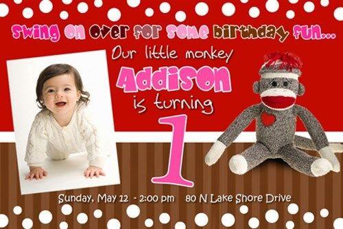 Sock Monkey Birthday Party Invitation 1st First Baby C4 Card
