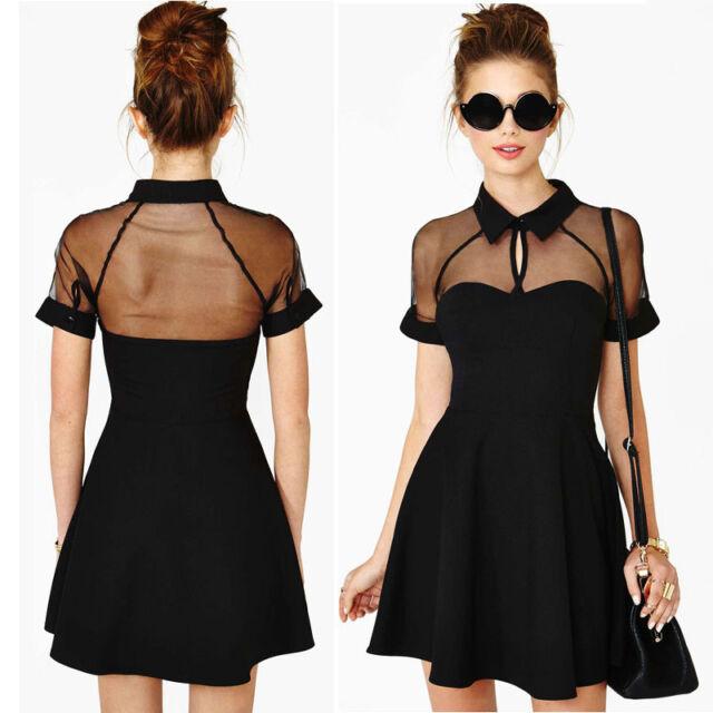 Women Mini Dress Mesh Cutout Sweetheart Neckline Short Sleeve A-Line Dress