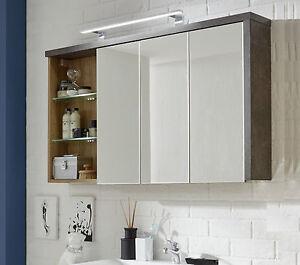 Badschrank design  Spiegelschrank Eiche Riviera grau Beton Design 120 cm 3D Spiegel ...