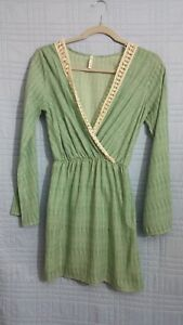 Sage-womens-small-long-sleeve-green-tunic-lace-top