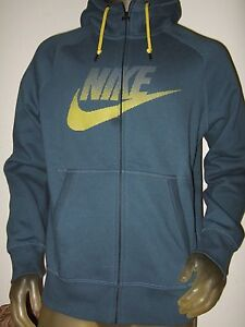14dbcde46cdf Nwt Men s Large Blue Nike AW77 Futura Swoosh Logo Graphic Zip Up ...