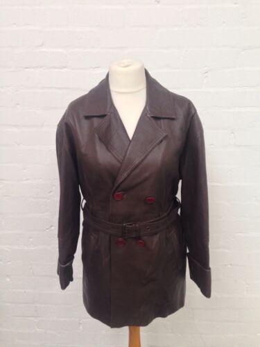 Uk14 vintage en pour style femme de veste cuir tr Manteau safari ZwxqpzHfZ