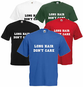 Cheveux-longs-don-039-t-care-Unisexe-T-Shirt-Tee-Top-hipster-unisexe-comedie-drole-S-XXL