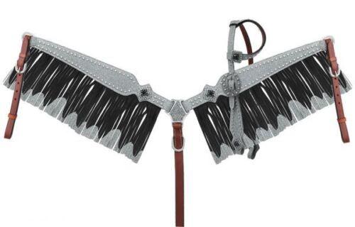 Paillettes Superposition une oreille éperons /& Fringe Breast collar Set 4 Couleurs Nouveau