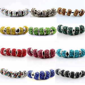 20Pcs-SILVER-MURANO-GLASS-BEADS-LAMPWORK-Fit-European-Charm-Bracelet-DIY-Jewelry