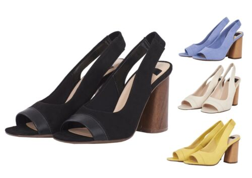 Womens Open Toe Heel Sandal Block Mid High Shoes Black Nude Blue Yellow Size 3-8