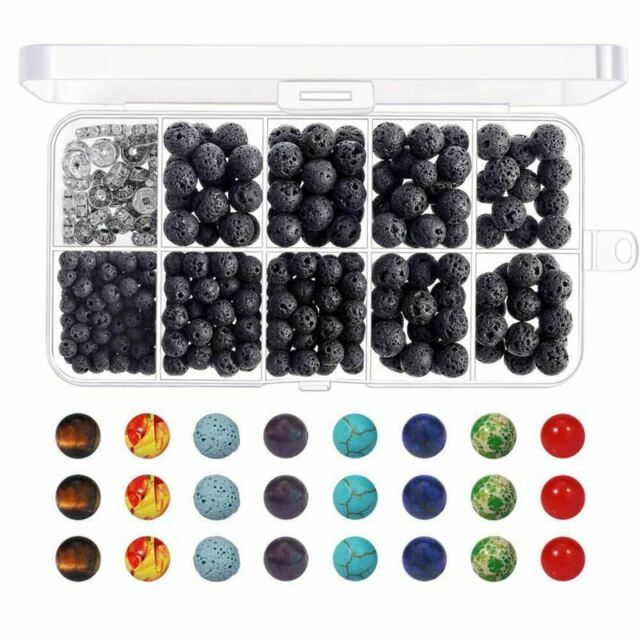 400pcs Lava Stone Rock Beads with Chakra Beads for Essential Oil and Jewel P1S2