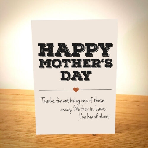 Crazy Mother-in-Law Funny Mother's Day Card Best Mother's Day Card Free Post