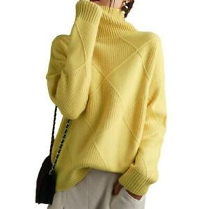 Women Pullover Sweater Faux Cashmere High Neck Casual Warm Knitted Loose Tops D