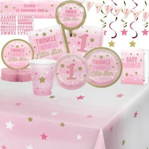 Brillant Twinkle One Little Star Pink Party Vaisselle, Décorations & Ballons-afficher Le Titre D'origine Ture 100% Garantie