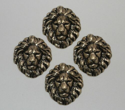 4 Pc Lot #4192 SMALL ANTIQUED GOLD LION HEAD