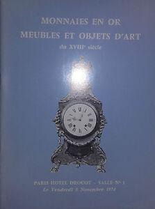 1974 Catálogo Ilustrado Venta Drouot Monedas Oro Muebles Artículo de Arte XVIII