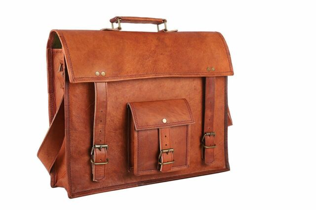 15e182a2d3a2 Men s Vintage Style Pure Leather Shoulder Bag Briefcase Messenger Laptop  Satchel