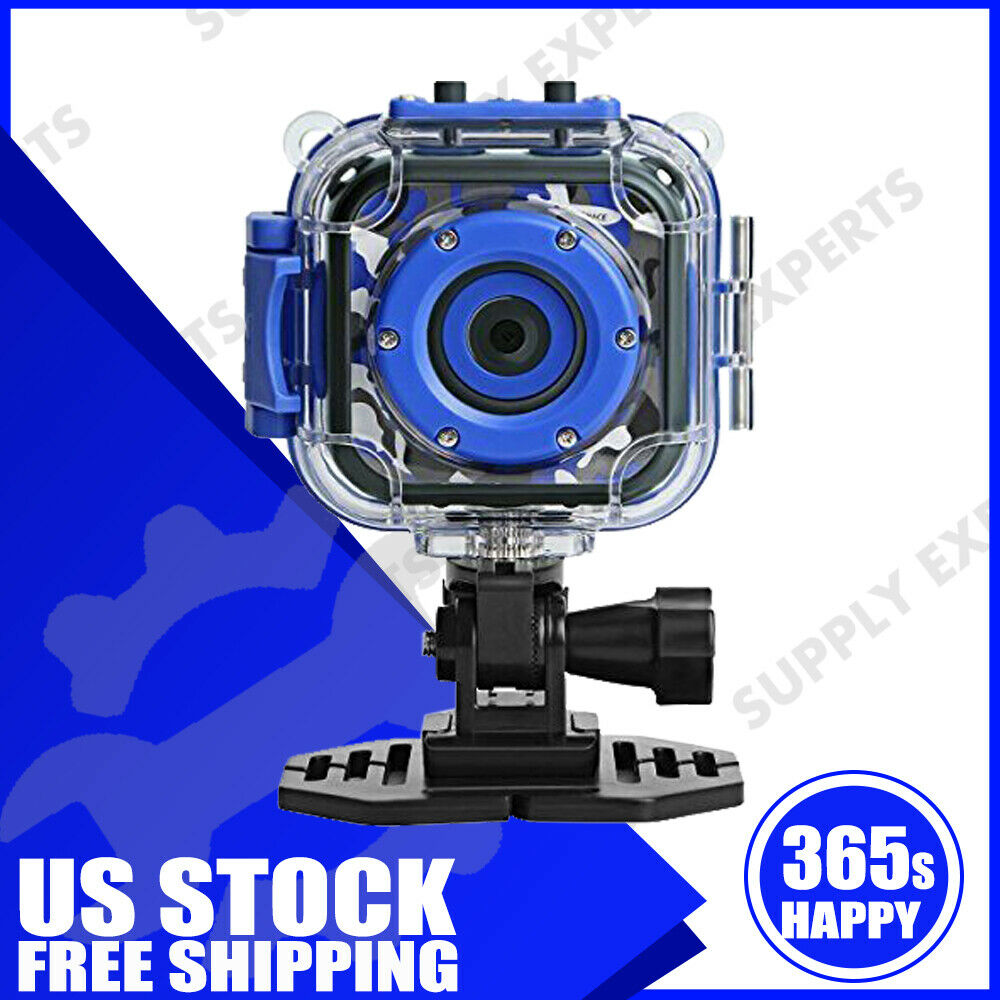 Drograce Kids Camera Underwater HD Sports Action Camcorder Video Recorder Blue action blue camcorder camera drograce kids recorder sports underwater video