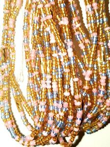 African Waist Beads 3 strands pea set gold and Orange .