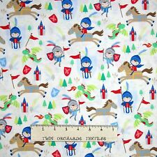 Fantasy Fabric - Kid Knight Dragon Horse Medieval - Timeless Treasures YARD