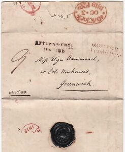 1818-ROMFORD-PENNY-POST-TO-GREENWICH-MISSENT-HANDSTRUCK-RETURNED-FROM-IPSWICH