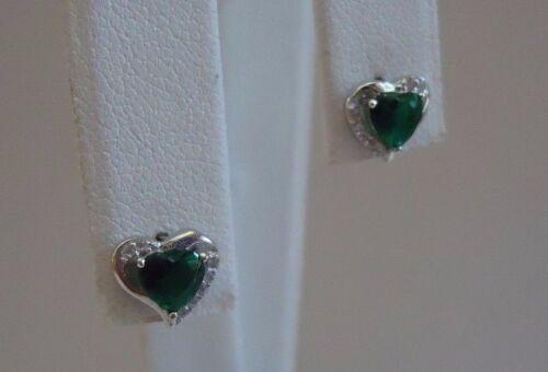 GREEN HEART SHAPE STUD EARRINGS W//1.10 CT EMERALDS /& ACCENTS 925 STERLING SILVER