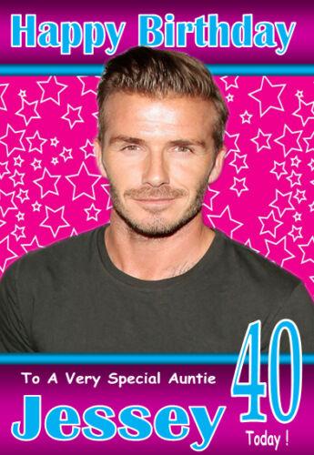 5 FABULEUSES personnalisé Carte Anniversaire n/'importe quel nom // Age // relation! David Beckham
