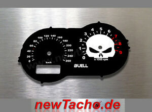 Buell-XB12S-Tachoscheibe-Skull-Gauge-XB-XB9S-Tacho-plates-dial-speedo-kmh-face