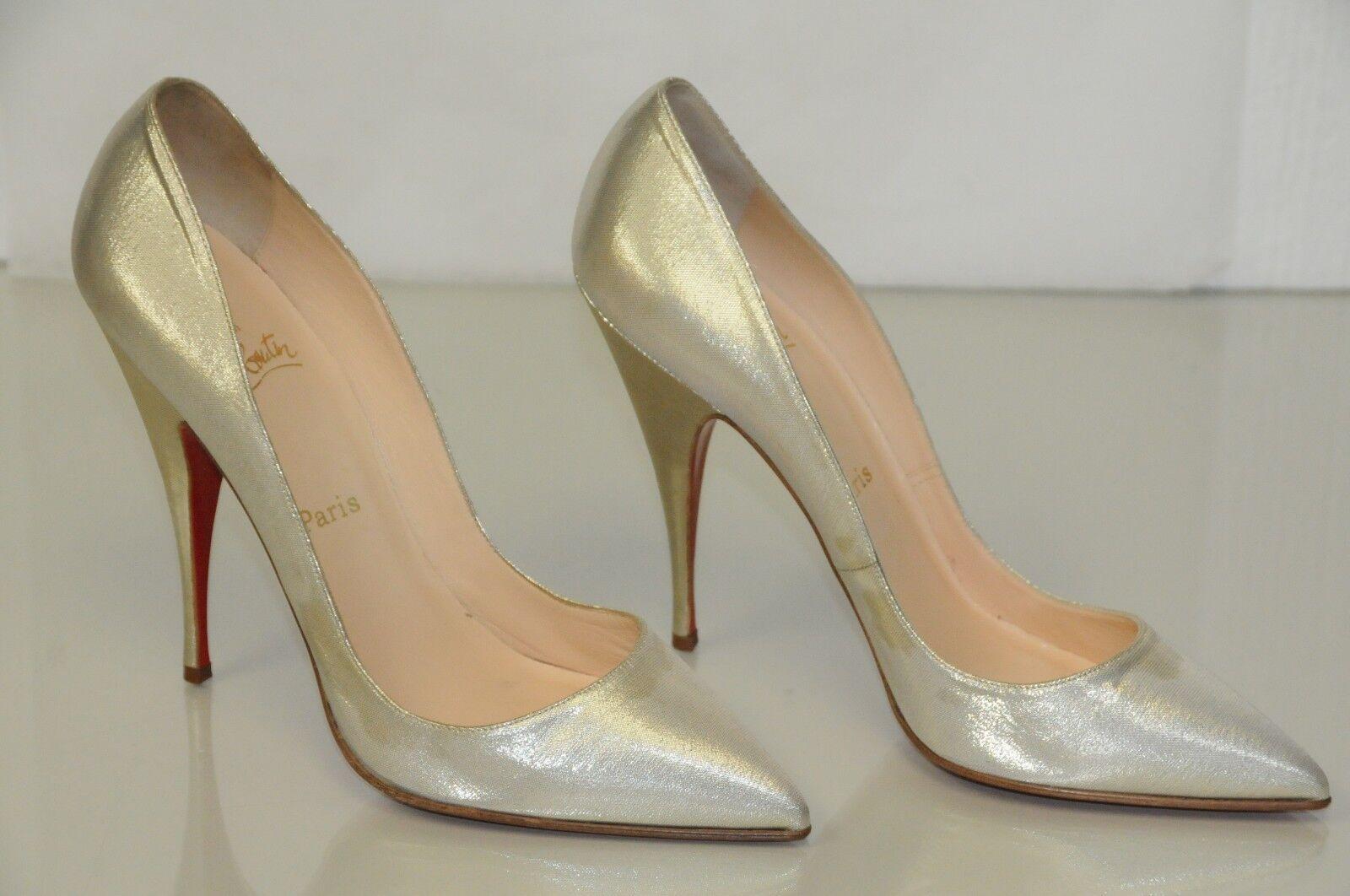 Neu Lame Christian Louboutin Pumps Hell Gold Schimmer Lame Neu Absatz Schuhe 39 1f24ae