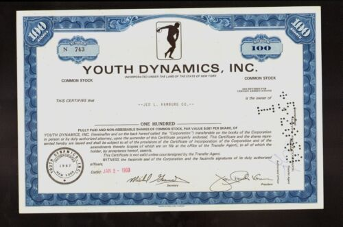 Youth Dynamics Inc Helena and Boulder Montana 1969 old stock certificate