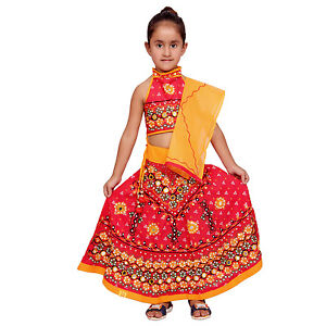54e88093825b Kids Lehenga Choli Red Indian Handmade Girls Ethnic dress ...